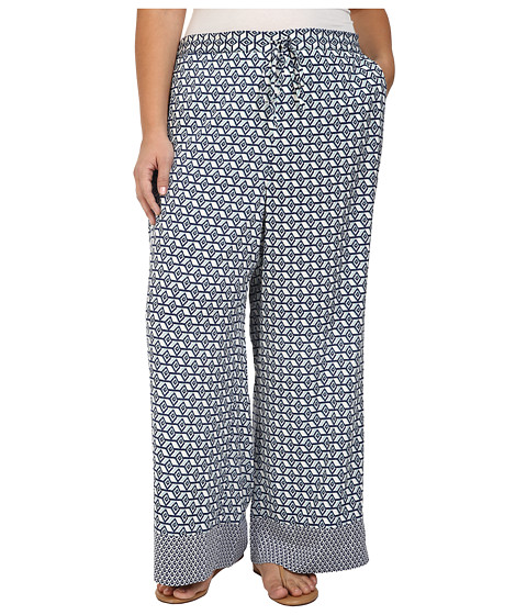 Imagine NYDJ Plus Size Printed Palazzo Pants in Empire Geo Champion Navy