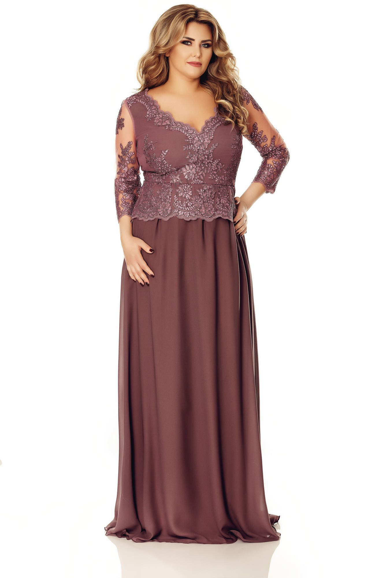 Imagine Rochie Plus Size Rose Prună