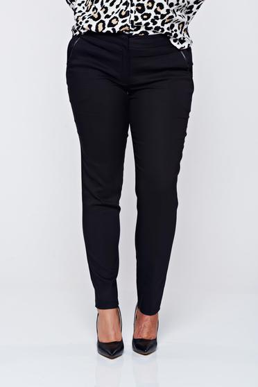 Imagine Pantaloni LaDonna negri office conici cu buzunare