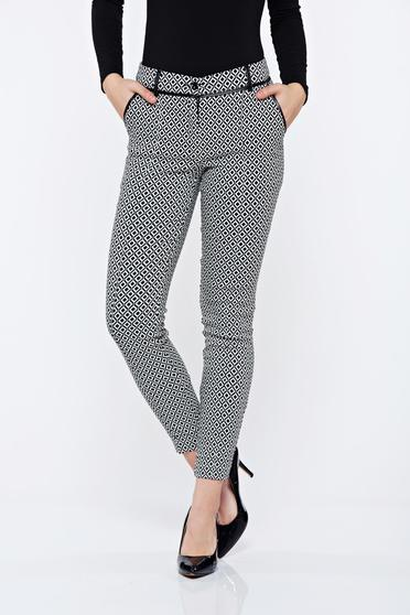 Imagine Pantaloni LaDonna albi cu imprimeu geometric office conici