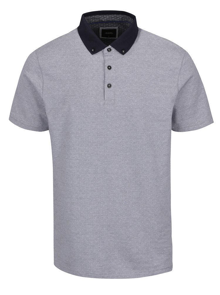 Imagine Tricou polo alb&albastru Burton Menswear London din bumbac