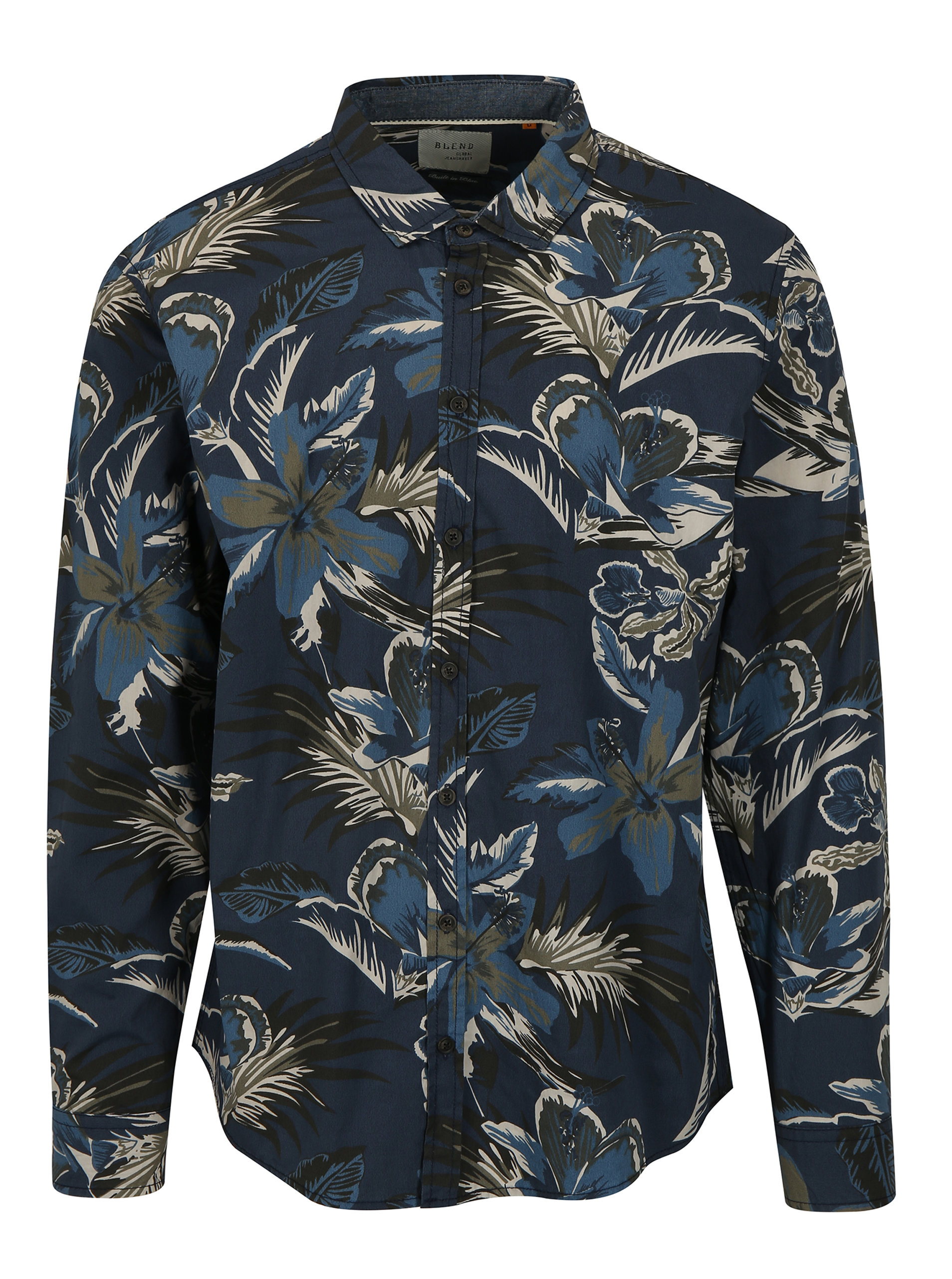 Imagine Camasa slim fit bleumarin cu print floral Blend
