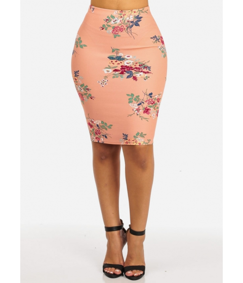 Imagine Cheap&Chic PLUS SIZE High Waisted Slim Fit Stretchy Floral Print Mauve Casual Pencil Skirt
