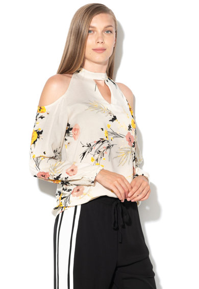Imagine Bluza cu decupaje pe umeri si model floral