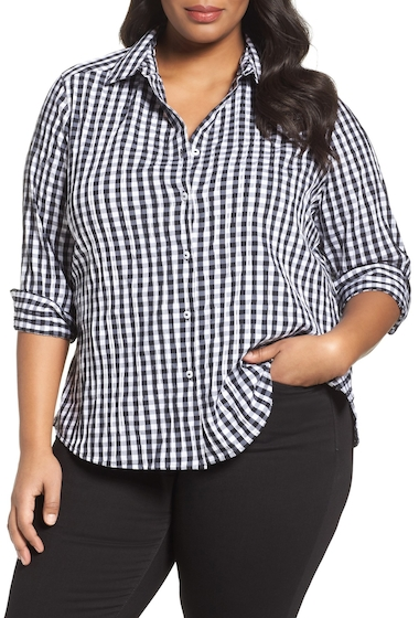 Imagine FOXCROFT Gingham Shirt Plus Size