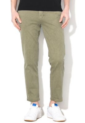 Imagine Pantaloni chino, slim fit, cu lungime crop si model discret