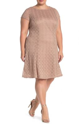 Imagine Sharagano Textured Lace Cap Sleeve Dress Plus Size