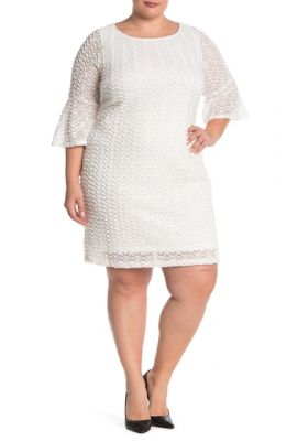 Imagine Sharagano Textured Lace Bell Sleeve Dress Plus Size