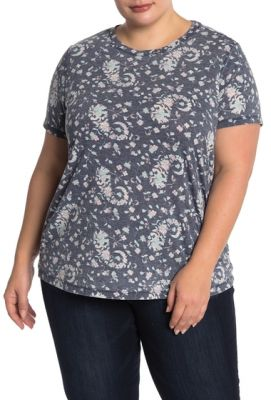 Imagine Lucky Brand Paisley Burnout Tee Plus Size