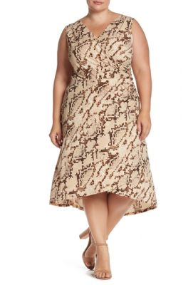 Imagine London Times Snake Patterned Shirred High/Low Dress Plus Size