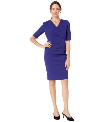 Imagine Tahari by ASL Short Sleeve Crepe Dress with Side Pleat Detail