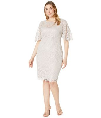 Imagine Adrianna Papell Plus Size Lace Flutter Sleeve Cocktail Dress