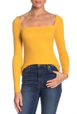 Imagine Abound Ribbed Square Neck Long Sleeve Top