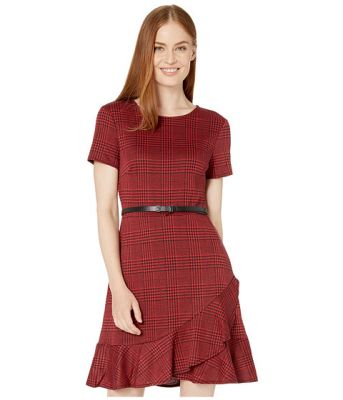 Imagine London Times Plaid Short Sleeve Ruffle Dress