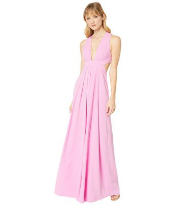 Imagine Jill Jill Stuart Deep V-Side Cut Out 2-Ply Crepe Gown