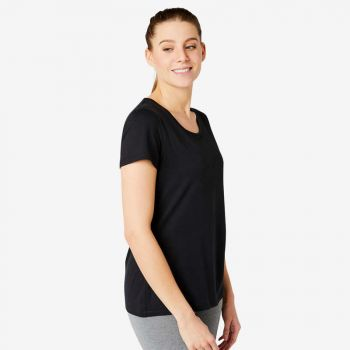 Imagine Tricou Regular 500 pilates negru damă NYAMBA