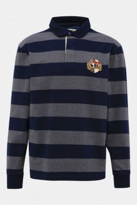 Imagine Grey-blue Striped Polo T-Shirt with Raging Bull Embroidery