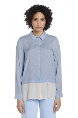 Imagine Blue Women's Striped Loose Shirt By Tom Tailor