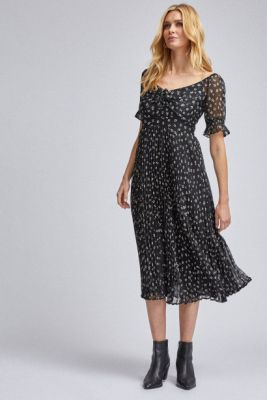 Imagine Black floral pleated mididishes Dorothy Perkins