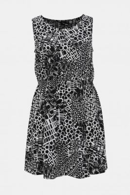 Imagine M&Co Plus White-Black Patterned Dress