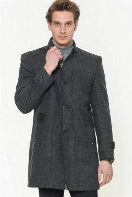 Imagine PLT8385 DEWBERRY MEN's COAT-PATTERNED ANTHRACITE