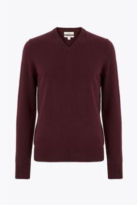 Imagine Marks & Spencer, Pulover tricotat fin cu decolteu in V, Rosu Bordeaux, 3XL