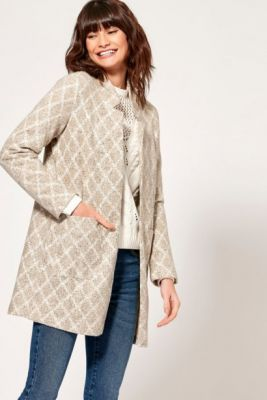 Imagine Beige Patterned Light Coat M&Co