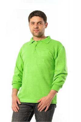 Imagine Bluza Polo, Material Pique, Maneca Lunga, Verde Praz, Unisex, 4XL INTL