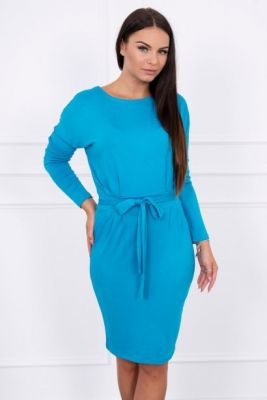 Imagine Dress tied at the waist turquoise
