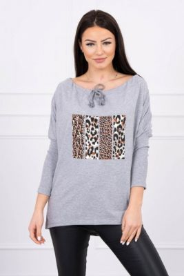 Imagine Blouse with print Change Plus Size gray